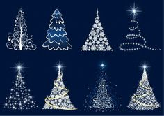 Abstract Christmas Tree Vector Set