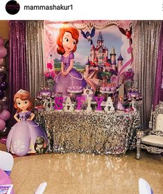 Sofia the First Birthday Party Dessert Table and Decor Sofia Birthday Cake, Princess Sofia Birthday, Sofia The First Birthday Party, First Birthday Party Decorations, Birthday Party Desserts, Birthday Backdrop, Disney Princess Party, Baby Shower Princess, 4th Birthday Parties