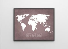 World map love quote wanderlust personalised world map print travel quote world map art print poster lets get lost travel decor violet gumiabroncs Image collections