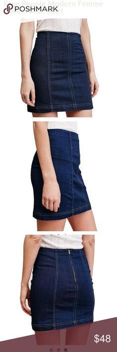 """Free People Modern Femme Denim Mini Skirt A denim mini mini with a bit of vintage appeal, high-rise waistline and super soft stretch. The Free People Modern Femme Denim Mini Skirt in a true denim blue is a flattering mini with exposed front seams and a back zip closure. Pair with your favorite low-tops or a wood wedge heel and off-the-shoulder blouse  53% Cotton 23% Rayon 22% Polyester 2% Spandex Back zip closure Measurements for size 6 Waist: 27.0"""" = 68.58 cm 