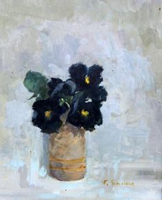 "cacaotree: "" Frances Sinclair (British, active circa 1980-circa 2000) 'Black Pansies' "" #flowersplantsillustration"