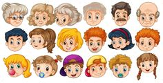 Find Many Faces People Different Ages stock images in HD and millions of other royalty-free stock photos, illustrations and vectors in the Shutterstock collection. Thousands of new, high-quality pictures added every day. Polymer Clay People, Picture Templates, Number Tracing, German Language Learning, Singing Time, Embroidery Flowers Pattern, Family Illustration, Family Print, Pumpkin Faces
