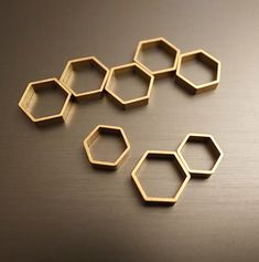 35 pieces of vintage small cut raw brass tube outline charm in hexagon shape geometric 10x10x2.5mm wide larger size via rawbrassshop on Etsy