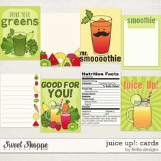Juice Up! Cards by lliella designs Apple Fruit, Green Day, Vitamin C, Cholesterol, Digital Scrapbooking, Juice, Nutrition, Make It Yourself, Sweet