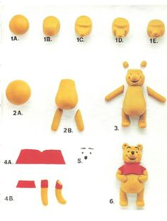 Winnie the Pooh Winnie The Pooh Figurines, Winnie The Pooh Cake, Winnie The Pooh Birthday, Polymer Clay Figures, Fondant Figures, Polymer Clay Crafts, Cake Topper Tutorial, Fondant Tutorial, Cake Decorating Techniques