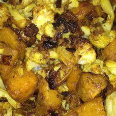 "My recipe for roasted cauliflower & butternut squash ""aloo gabi"" style. Low carb & low fat!"