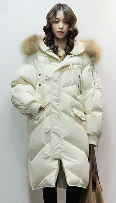 df47d9fefbf New white down coat winter plus size clothing hooded fur collar womens  parka zippered long sleeve coats