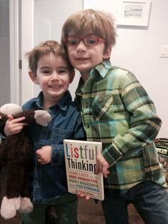 My cutie list maker nephews and Momo the monkey are thrilled with their copy of Listful Thinking! #ListfulThinkingShelfie #ListfulThinking