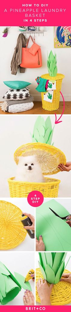 Hang on to summer with this DIY pineapple laundry basket. So cute!