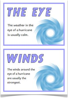 Hurricane Fact Cards - Treetop Displays - A set of 18 A5 fact cards that give interesting facts about hurricanes. Each fact card has a key word heading, making this set a useful topic word bank as well! Fantastic for discussions and introducing hurricanes! Visit our website for more information and for other printable resources by clicking on the provided links. Designed by teachers for Early Years (EYFS), Key Stage 1 (KS1) and Key Stage 2 (KS2).