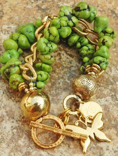 Özel Yeşil Turkuaz ve Altın Zincir Bileklik