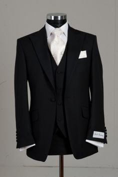 Slim Line Three Piece Black Wedding Suit