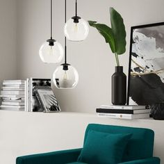 Mercury Row Baxter Cluster Globe Pendant Finish: Black, Shade Colour/Pattern: Clear, Size: H x W x D Globe Pendant, Lantern Pendant, Pendant Lighting, Light Pendant, Drum Pendant, Metal Canopy, Hanging Crystals, Drum Chandelier, Linear Chandelier