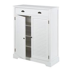 Mueble zapatero con 2 puertas y 1 cajón blanco | Maisons du Monde