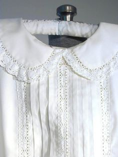 Vintage 70s Pure White Lace, Tucks, Sleeveless Dress with Collar
