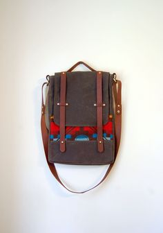 The Prickley Mountain Bag // Waxed Canvas Attache Converts to Backpack/rucksack w/ Leather & Pendleton Wool. $162.00, via Etsy.