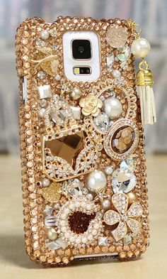 Bling case for Samsung Galaxy S5. Golden Glory Design with Tassel Phone Charm. http://luxaddiction.com/collections/3d-designs/products/golden-glory-design-with-tassel-phone-charm-style-496