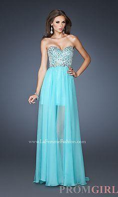 Long Strapless Dress with Sheer Skirt $498