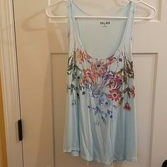 Tank Baby blue with pretty spring flowers Mudd Tops Tank Tops