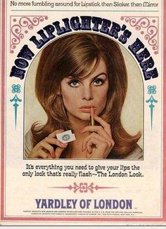 Vintage Makeup 1965 ad for Yardley lipstick (featuring Jean Shrimpton) - This is a guide about finding Yardley cosmetics. When you have used makeup products that you really like, it can be a challenge to find them again. Vintage Makeup Ads, Retro Makeup, Vintage Beauty, Vintage Ads, Vintage Posters, Vintage Fashion, 1960s Fashion, Sixties Makeup, Vintage Magazines