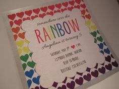 Printable Rainbow Birthday Invitations ~ Rainbow hearts birthday party invitation printable rainbow