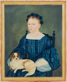 Love this one too! American School, 19th Century Portrait of a lady holding a King Charles Spaniel   signed with initials and dated 'O.P 1862' (lower right)   oil on canvas   25 x 20 in. (63.5 x 50.8 cm.)   Painted in 1862.