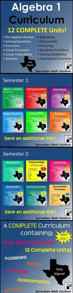 A full year's worth of Algebra 1 Curriculum: 12 Complete Unit Bundles containing  a variety of resources including notes, practice, activities, foldables, quizzes, 2 forms of a cumulative test, and even a lesson plan! Everything is done for you in these complete unit bundles!