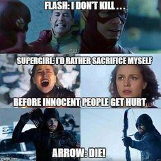 Supergirl and the flash= 🙂😍 Arrow= Really tho? R u good bro? Marvel Jokes, Marvel Funny, Marvel Dc Comics, Superhero Shows, Superhero Memes, The Flashpoint, Arrow Memes, Flash Funny, The Flash Grant Gustin