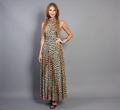 70s LEOPARD Maxi DRESS / Sleeveless Glam by luckyvintageseattle, $58.00