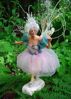 """""""Gwendolyn""""  Fairy Godmother  C  Deb Wood 2006  Isn't she just a delight? I really do enjoy creating the elder fae. This is Gwendolyn, Merlin the  Magician's wife, according to lore. I think she will grant your wish! She is about 8"""" tall."""
