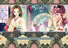 Matsuohiromi HP six petals three-piece red Beautiful Fantasy Art, Beautiful Drawings, Manga Illustration, Portrait Illustration, Japanese Cartoon, Japanese Art, Character Art, Character Design, Oriental