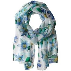 Echo Design Spring Lillies Scarf Turquoise Flower Blue Green Floral Scarf NWT  #EchoDesign #Scarf