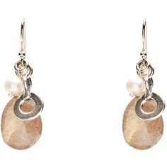 Labradorite and Pearl with Sterling Silver Open Charm Earrings ($95) ❤ liked on Polyvore featuring jewelry and earrings