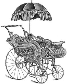 An illustration from 1900 of an ornate, umbrella adorned baby carriage.