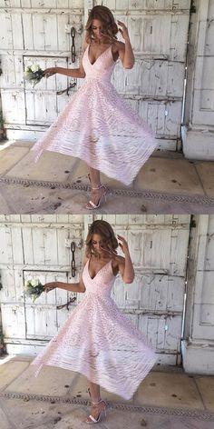 Bridesmaid dresses, pink lace party dresses, cheap a-line fashion dresses