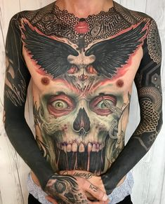 33 Fabulous Big Tattoo for Men You Can Choose for Your Style - Tattoo Torso Tattoos, Hot Tattoos, Black Tattoos, Tattoos For Guys, Sleeve Tattoos, Octopus Tattoos, Skull Tattoos, Body Art Tattoos, Dark Art Tattoo