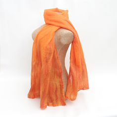 Orange nuno felted scarf with flame detail £25.00