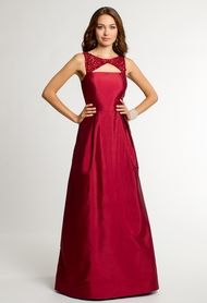 Camille La Vie Taffeta  Beaded Dress with V-Open Back