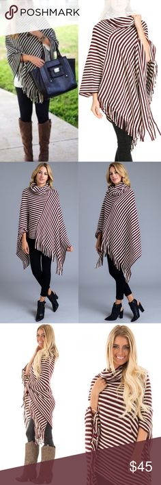 🆕EMMALEE cowl neck poncho - BURGUNDY ALSO AVAILABLE IN BLACK MIX  Striped asym hem poncho with fringe detail and cowl neck. Super fun and stylish! 100% soft Acrylic 🚨🚨NO TRADE, PRICE FIRM🚨🚨 Bellanblue Sweaters