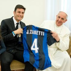 Pope Francis receives Inter Milan captain Javier Zanettis soccer jersey during private audience at Vatican  Pope Francis receives a soccer jersey from Inter Milan captain Javier Zanettis during a private audience at the Vatican April 25. (CNS photo/LOssevatore Romano via Reuters)
