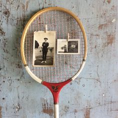 Vintage Badminton Racket Red Wooden Racket Vintage Sports Wood Racquet
