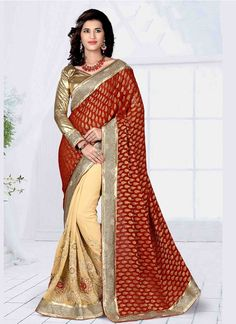 Be the sunshine of every person's eyes dressed in this gorgeous beige and maroon georgette and raw silk classic designer saree. Beautified with embroidered and patch border work all synchronized ver. Bollywood Designer Sarees, Indian Designer Sarees, Latest Designer Sarees, Latest Sarees, Designer Sarees Collection, Saree Collection, Wedding Fabric, Wedding Wear, Party Wedding
