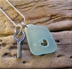 Scilly Isles Sea glass large heart pendant with vintage key £15.00