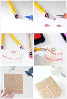 pencil eraser stamp. {i just luv all the home made gift wraps. it adds one's gift tons of 'value'}