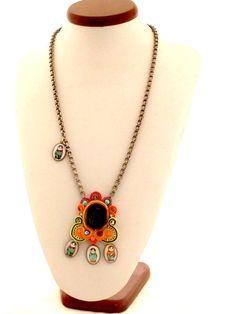 #colorblock statement necklace  #Matryoshka by beadsofaquarius, $105.00