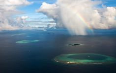 Rainbow over Maldives. Visit our website for more amazing photos and videos Places To See, Places To Travel, Beautiful World, Beautiful Places, Amazing Places, Beautiful Ocean, Wonderful Places, Fuerza Natural, Visit Maldives