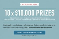 We're Giving Away 10 x $10,000 Prizes to America's most innovative creative entrepreneurs