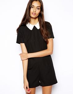 Image 1 ofGlamorous Playsuit with Contrast Collar Contrast Collar, Jumpsuits For Women, Playsuit, Going Out, Summer Outfits, Asos, Rompers, Glamour, Mens Fashion