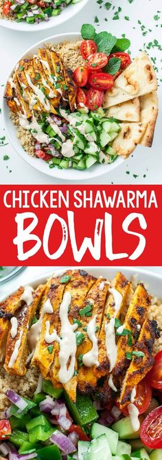 We're loving this recipe for healthy Chicken Shawarma Quinoa Bowls with a super easy hack for creating make-ahead lunches for work or school. The flavors are out of this world! chicken dinner Healthy Chicken Shawarma Quinoa Bowls - Peas And Crayons Easy Dinner Recipes, Easy Meals, Easy Recipes, Quinoa Dinner Recipes, School Dinner Recipes, Muffin Recipes, Summer Recipes, Dinner Ideas, Clean Eating