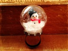 Snow Globe Ring GLASS ring Snowman ring - vintage style, naturalist home decor ideas